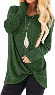 Women Twisted Tops T-Shirt, Casual Long Sleeve Spring and Autumn O-Neck Loose Knits & Tees