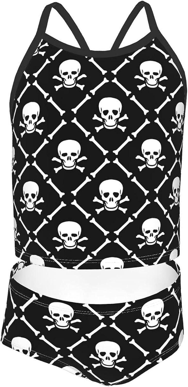 Girls 2 Piece Tankini Swimsuit Set Skull Tartan Skeleton Plaid Bikini Beach Sport Swimsuit Comfortable Bathing Suit