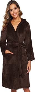Women Flannel Short Robe Warm Cute Hooded Pajama with Waist Belt