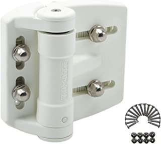 "D&D Technologies TCAMA2WT Multi-Adjust Regular Duty Gate Hinges, for Self Closing Metal, Wood, Vinyl Gates up to 55 Pounds, 3-Way Adjustable, Gap up to 2"", White, 2 Count"