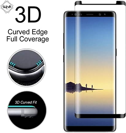 SCEVA Case Friendly 3D Tempered Glass Screen Protector for Samsung Galaxy Note 8 Black