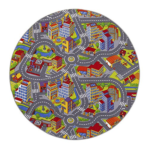 misento Kinderteppich Straßenteppich Spielunterlage Kinderzimmer Schadstoff geprüft rund 200 cm