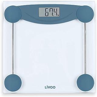 Báscula digital de cristal – Báscula corporal digital azul blanco – Peso hasta 180 kg – Apagado automático – Báscula digital 100 g pasos – Indicador de batería baja