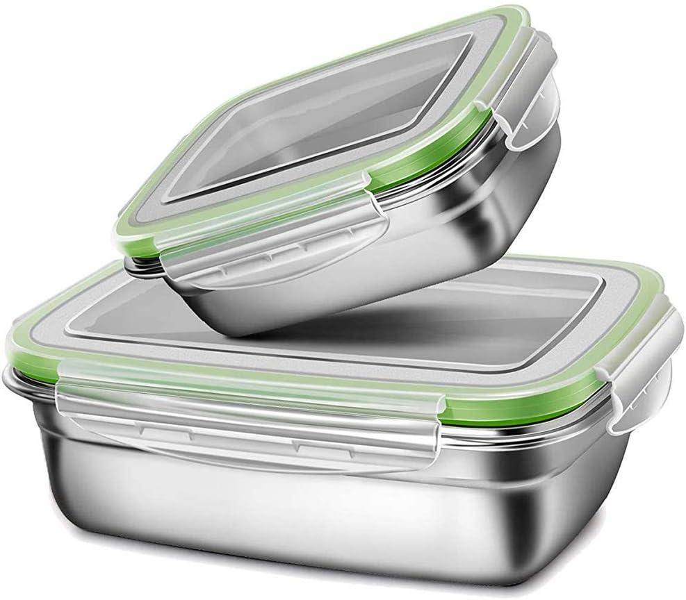 G.a HOMEFAVOR Fiambrera con Acero Inoxidable 2 Piezas Caja Bento Lunch Box para Niños Y Adultos con Tapa De Plástico (Grande 850ml, Pequeño 350ml), Verde