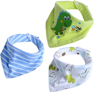 Baby Bandana Drool Bibs for Unisex Baby 3 Pack Absorbent Cotton Modern Baby Gift Set (Dinosaur Concert)