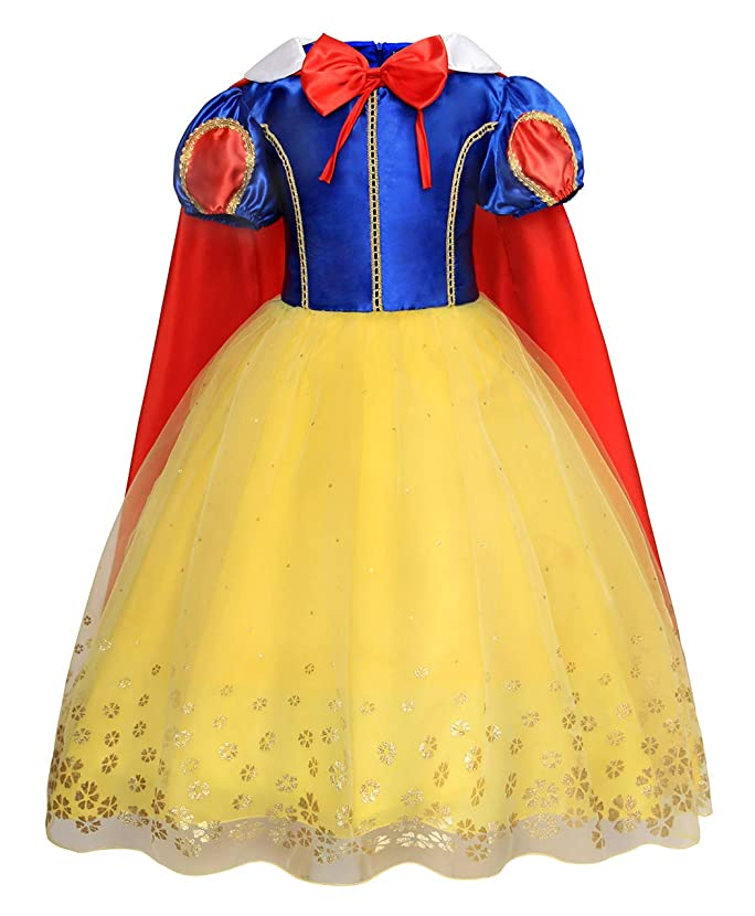 Jurebecia Girls Snow White Costume Kids Princess Dress up Fancy Halloween Party Role Play Cosplay Dresses Outfits 1-12 Years