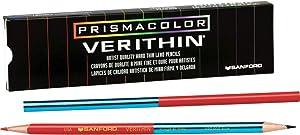 Prismacolor Verithin Colored Pencil, Red/Blue, 12 Count