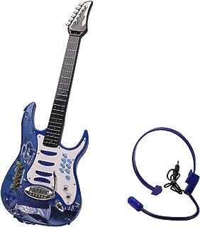 MRKE Guitarra Electrica Niños 6 Cuerdas Rock Juguete de Instrumentos Musicales con Auriculares y Correa de Guitarra para Infantil Niño y Niña 3-8 Años (Azul)