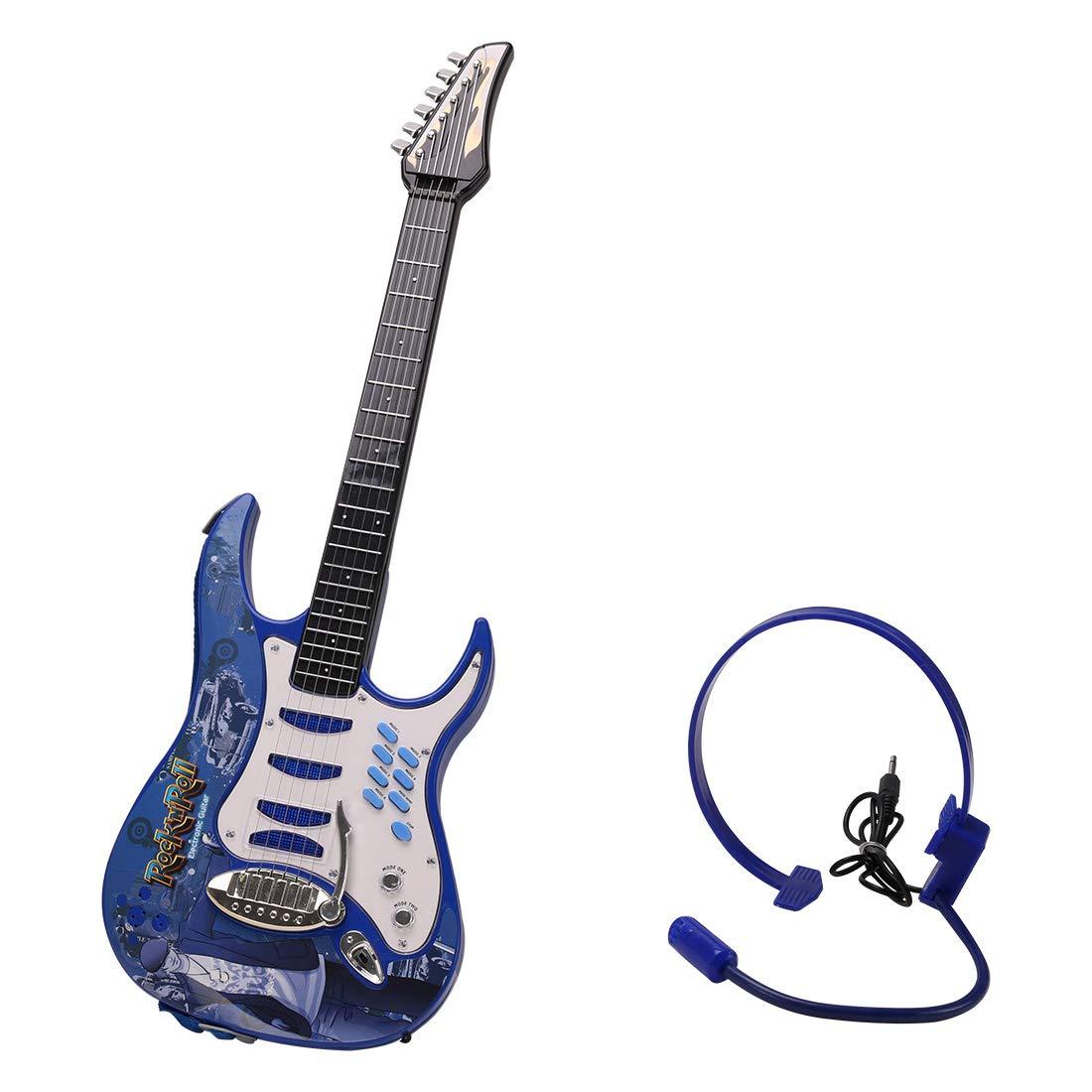 DXX Guitarra Electrica Niños 6 Cuerdas Rock Juguete de Instrumentos para Principiante para Niños Niñas Fiesta con Auriculares y Correa de Guitarra-Azul: Amazon.es: Juguetes y juegos
