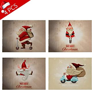 JUFANGFIN Set of 4 Christmas Holiday Placemats, Heat Insulation Cotton Linen Dining Table Xmas Mats for Kitchen Dinner Washable Stain Resistant Place Mat Doily Decoration