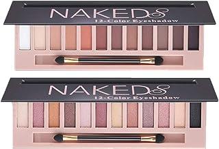2 Pack 12 Colors Makeup Naked Eyeshadow Palette Natural Nude Matte Shimmer Glitter Pigment Eye Shadow Pallete Set Waterpro...