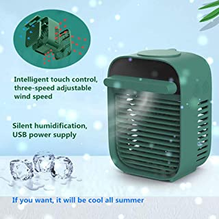 HRTC Ventilador del aire acondicionado,mini refrigerador de aire evaporativo de escritorio portátil,circulador de aire de espacio personal ultra silencioso,adecuado para dormitorio, habitación de bebé