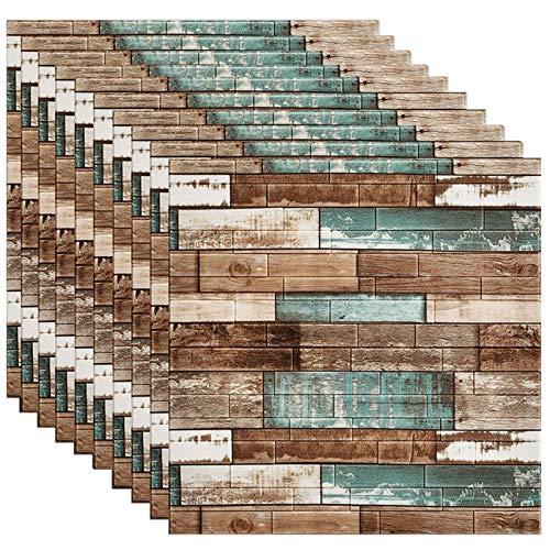 GL-GDD Paquete de 10 Paneles de Pared 3D para pelar y Pegar Azulejos contra Salpicaduras Autoadhesivo Papel Tapiz de Espuma PE Fondo Impermeable Decoración de Pared se Puede empalmar Bricolaje,9