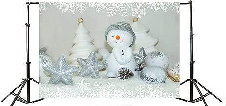 10x6.5ft Vinyl Backdrop Photography Snowman Winter Snow Background Christmas Decoration White Snoflakes Edge Pattern Star Balls Background Sweet Love Children Photo Portrait Background