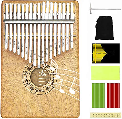 Kalimba Thumb Piano 17 Key Pocket Piano Portable Piano Mbira Sanza African Finger Piano with Kalimba Thumb Protector Hammer for Beginners Kids Adult Present Musical Toy Giftfor Kids