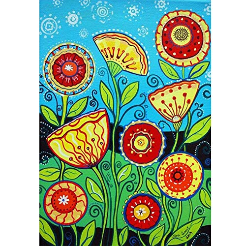 SINACO Full Round Drill 5D Diamond Painting Kit,Diamond Painting Kits for Kids for Home Wall Decor Colored Flower 11.8x15.7in by