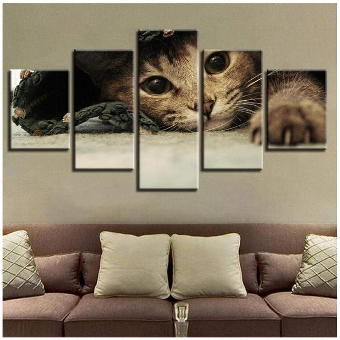 恐れる一定厚いファッションアートワーク5ピースプリント動物ラブリーキャッツキャンバス絵画ホームキッズルームインテリアHDウォールアートアート写真ポスター(フレームなし)30x40 30x60 30x80cm