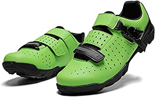 ZMYC Outside Professional Cycling Shoes MTB Cycling Shoes Breathable Anti Slip Easy Very Stiff Outsole For Road Race Downhill Sports Shoes (Color : Green, Size : 47)