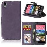Funda HTC Desire 626 626S 626G 626G+,Bookstyle 3 Card Slot PU Cuero Cartera para TPU Silicone Case Cover(Violeta)