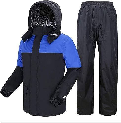 Imperméables adultes Geyao Pluie tempête Costume Moto male équitation imperméable Pantalon de Pluie Costume Fendu imperméable male Anti-tempête (Taille   XXL)