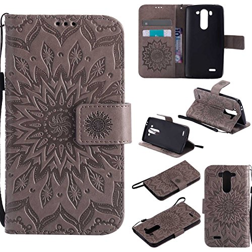 pinlu® PU Leder Tasche Etui Schutzhülle für LG G3 s (5 Zoll) Lederhülle Schale Flip Cover Tasche mit Standfunktion Sonnenblume Muster Hülle (Grau)