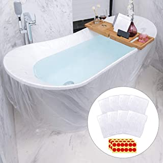SelfTek 8 Pack Disposable Bathtub Cover Liner with 36 Pieces Self Adhesive Dots 86 x 47 inch Individual Bathtub Bag for Traveling, Hotel,Household and Salon