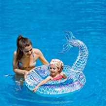 HANMUN Inflatable Mermaid Pool Float 6+Years Floaties for Adults Pool Float Swimming Ring Pool Float Inner Tube Outdoor Beach Party Play Pool Water Fun Toy for Adults