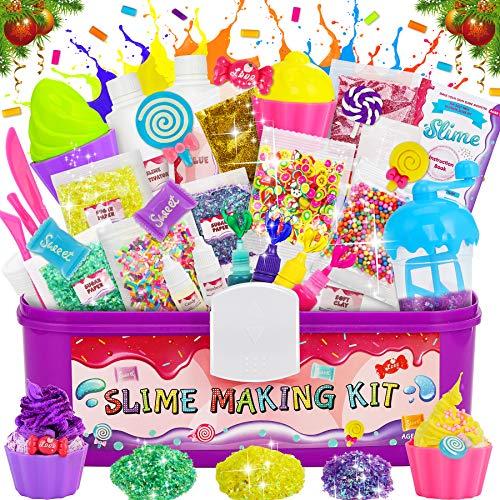 LETOMY Kit De Slime Bricolage, Bonbons Fabrication De Slime, Kit Slime DIY avec Tasse de Mélange, Moule à Glace, Bonbons Accessoires etc pour Slime Pas Cher...