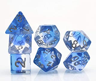 Polyhedral D&D Dice Set RPG Game Dice for Dungeons and Dragons DND MTG Pathfinder Role Playing Games 4 Colors Blue Transparent Dice (Glacier World)