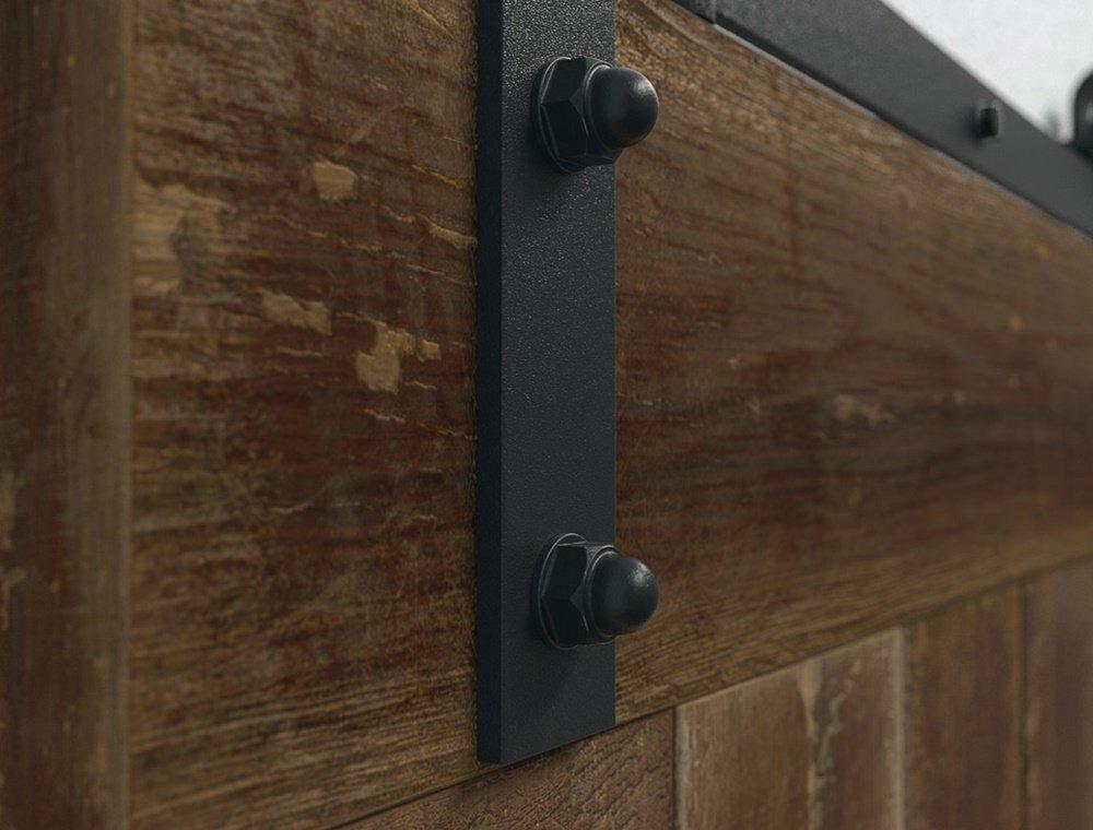 Puerta Corredera de Cristal Antiguo Sistema de puerta corredera con raíl de unidad para puertas de madera – modelo Slido | rieles Longitud 2000 Mm, resistencia 100 kg | Muebles herrajes de