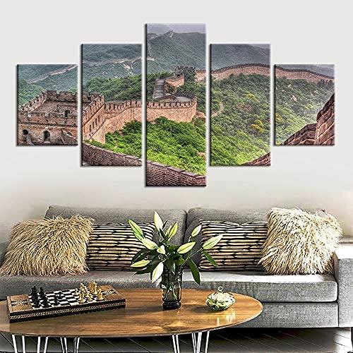 JINGMEI Fresh Colors Módulo De 5 Piezas Cuadro De Arte De Pared Paisajes La Gran Muralla China Decoración del Hogar Moderna Sala De Estar Dormitorio Oficina Adornos Decorativos