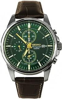Seiko Chronograph Alarm Dark Green Dial Mens Watch SNAF09