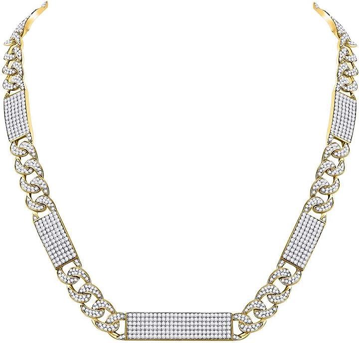 Collana in oro giallo rettangolare 10 ct con diamante rotondo a maglie cubane 24-1/2 cttw per uomo D2D-120982