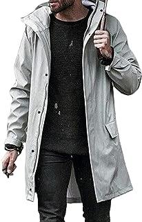 Men Jacket Long Sleeve Trench Coat Mid-Length Outdoor Sport Hoodie Windbreaker