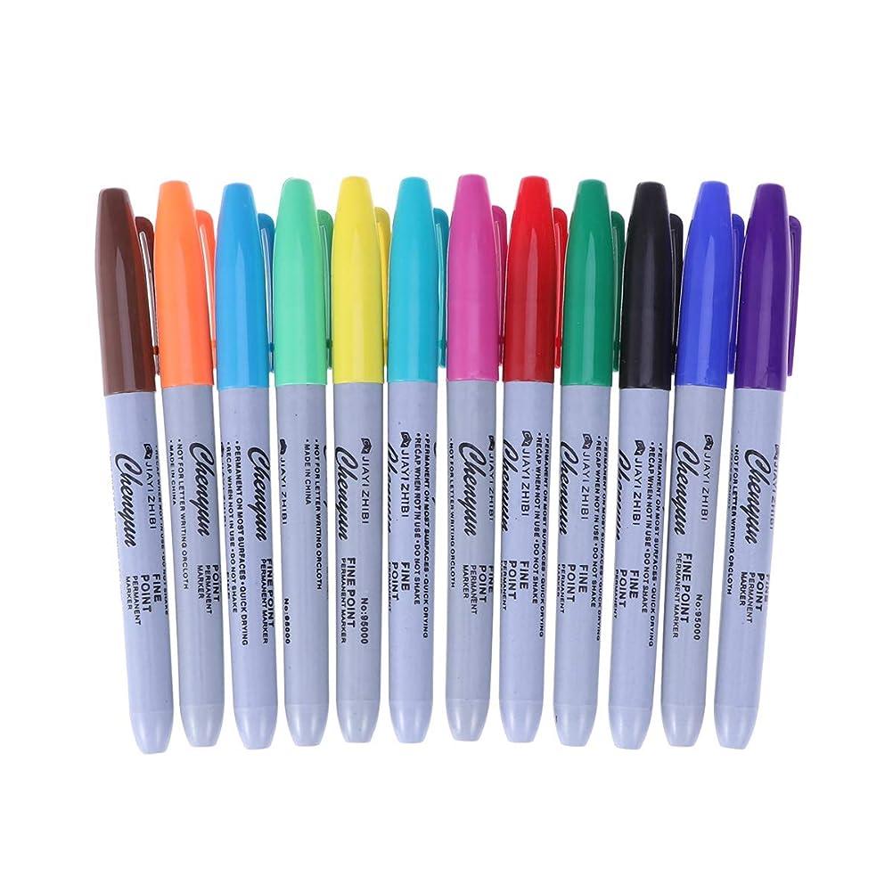 融合海嶺標準Healifty 12色タトゥーペン防水タトゥースキンマーカーマーキングスクライブペンファインとレッグチップタトゥー用品