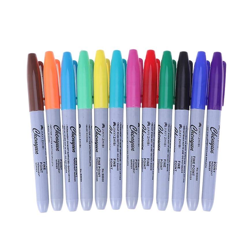 足枷男やもめ懲戒Healifty タトゥーペン防水高品質マーカーペン12色スキンマーカーペンスクライブツールタトゥー用品24ピース