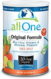 allOne Multiple Vitamin & Mineral Powder, Original Formula | Once Daily Multivitamin, Mineral & Amino Acid Supplement w/ 8g Protein | 30 Servings