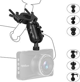 Viffly 車載カメラ ドライブレコーダー用スタンド 車載ホルダー ルームミラー取付型 ホルダー スタンド ドラレコ 7種類アダプター 車にアクションカム/GPS/カーナビ等を固定 (ブラック)