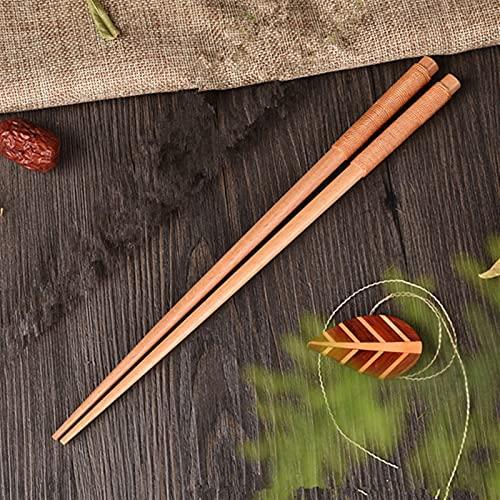 1 par Natural Hecho a mano Palillos de madera Hotel Restaurante Vajilla 1033 (Color : Gold Line Wood)