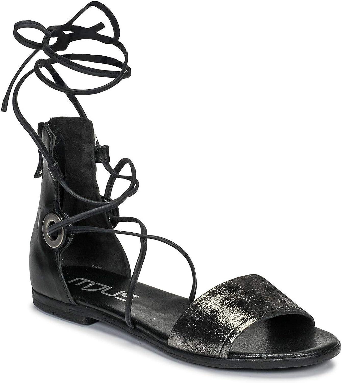 Mjus Chat Laces Sandalen Sandaletten Damen Schwarz Sandalen Sandaletten