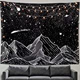 Zussun Mountain Moon Tapestry Wall Hanging Stars Black and White Art Tapestry Home Decor (50