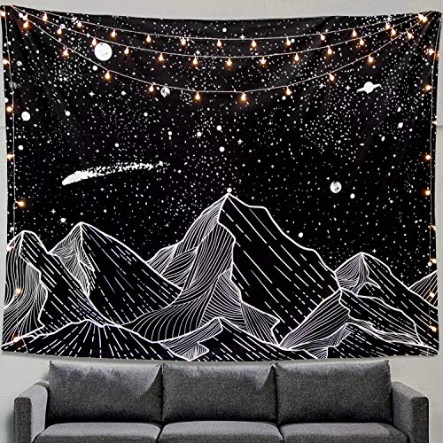 Zussun Mountain Moon Tapestry Wall Hanging Stars Black and White Art Tapestry Home Decor (50' x 60')