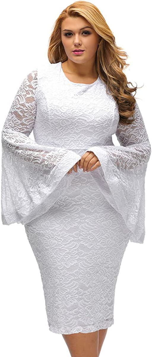 SUGARWEWE Sexy All White Plus Size Dress for Women Bell Sleeves Lace Dress Party Dress