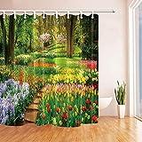 DINGQING Park Decor Wasserdichter Duschvorhang aus Polyestergewebe mit w&erschönen bunten Blumen in Grüngelb