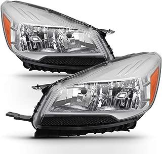 ACANII - For Halogen Model 2013-2016 Ford Escape Headlights Chrome Housing Headlamps Assembly Driver & Passenger Side