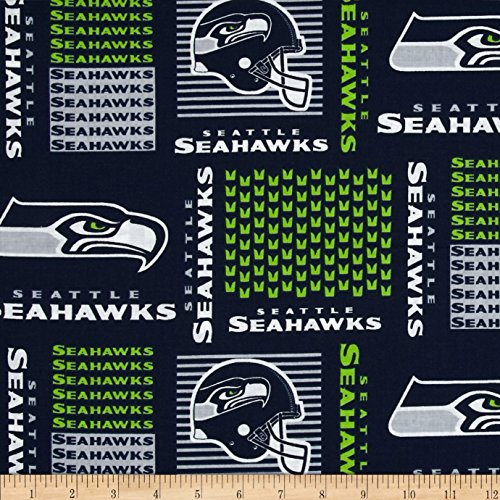 Fabric Traditions NFL Cotton Broadcloth Seattle Seahawks, Yard, Multi