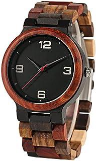 LYMUP Reloj de Madera Vintage Wood Wood Watch Masculino único Color Mezclado Color de Madera Reloj de Cuarzo Hombre Reloj ...