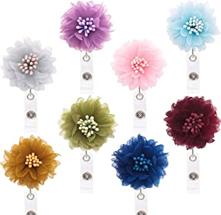 Ascrafter 8 Pack Lace Flower Retractable Badge Reel with Alligator Clip, ID Name Card Badge Clip Holder