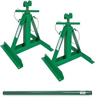 Greenlee 683 Screw Type Reel Stands Bundle w/ 684 Steel Spindle Complete Setup (2 Stands + 1 Spindle)