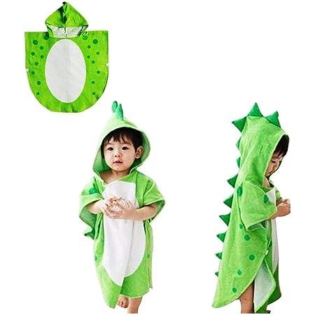 ベビータオル恐竜フード付きタオルバスタオルキッズバスローブ (緑)